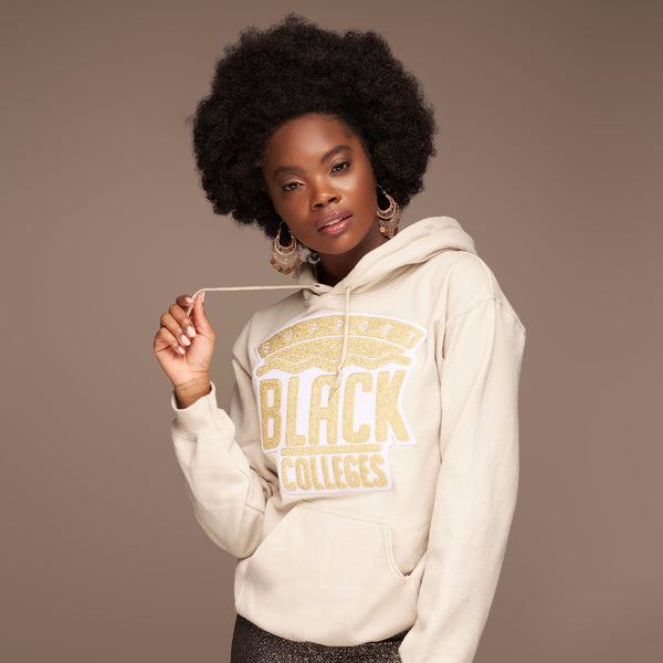 """Support Black College"" Monochrome Hoodie ""Sand"""