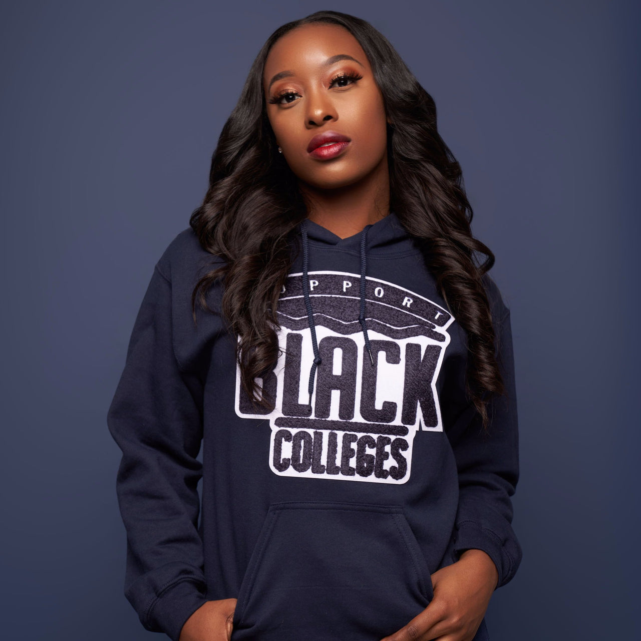 """Support Black College"" Monochrome Hoodie ""Dusk"""
