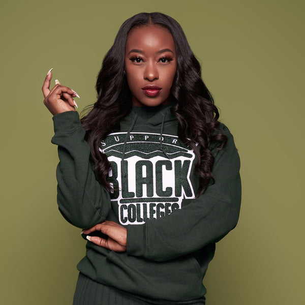 """Support Black College"" Monochrome Hoodie ""Hunter"""