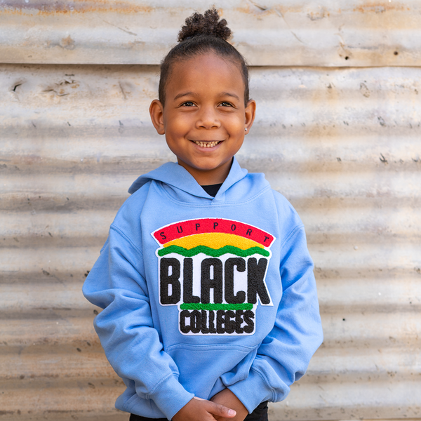 """Support Black College"" YOUTH Hoodie ""Light Blue"""