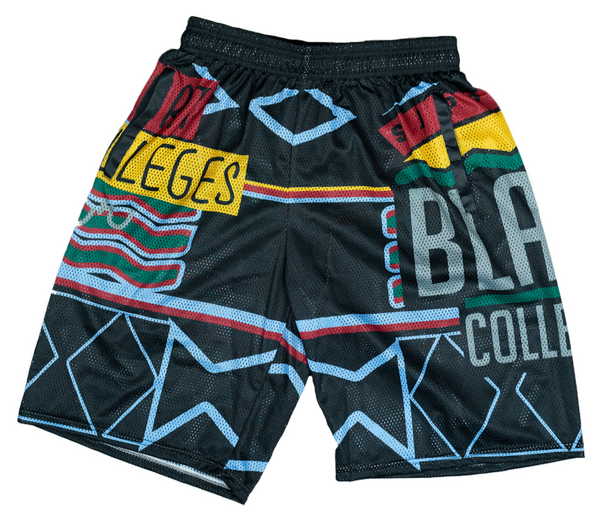 """Support Black College"" Mesh Shorts in Black"