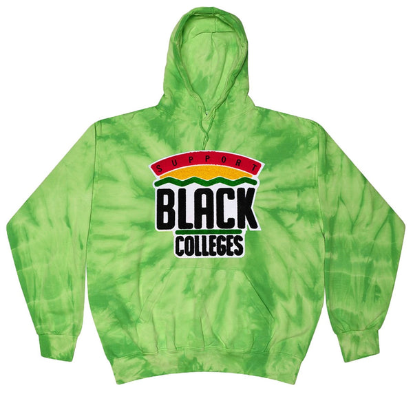 """Support Black College"" Tie-Dye Hoodie in Lime"