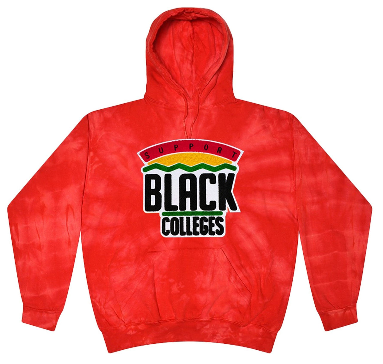 """Support Black College"" Tie-Dye Hoodie in Red"