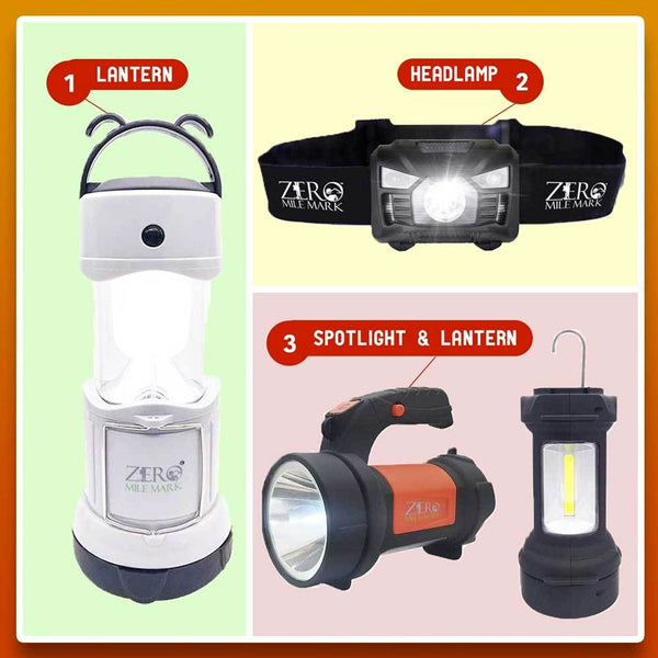 Lighting Bundle - Headlamp + Lantern + Spotlight All in One Pack