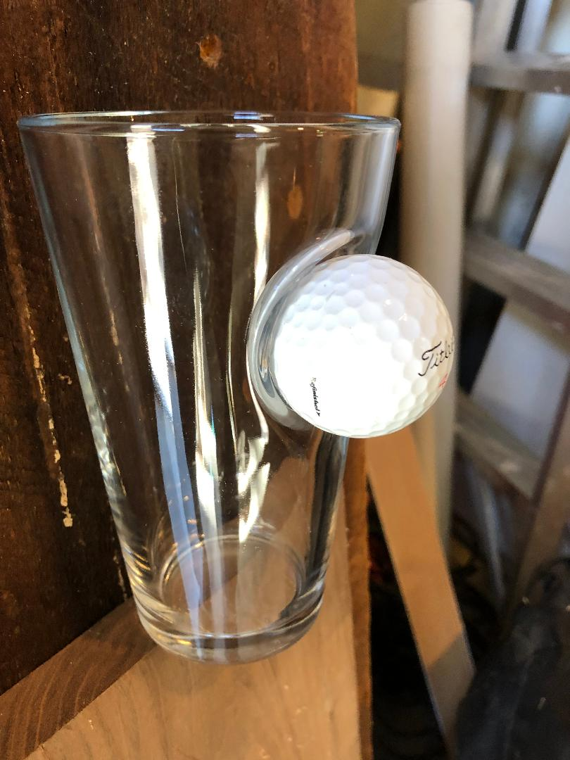 Ben Shot Titliest Golf ball glass, Glass embedded with a golf ball