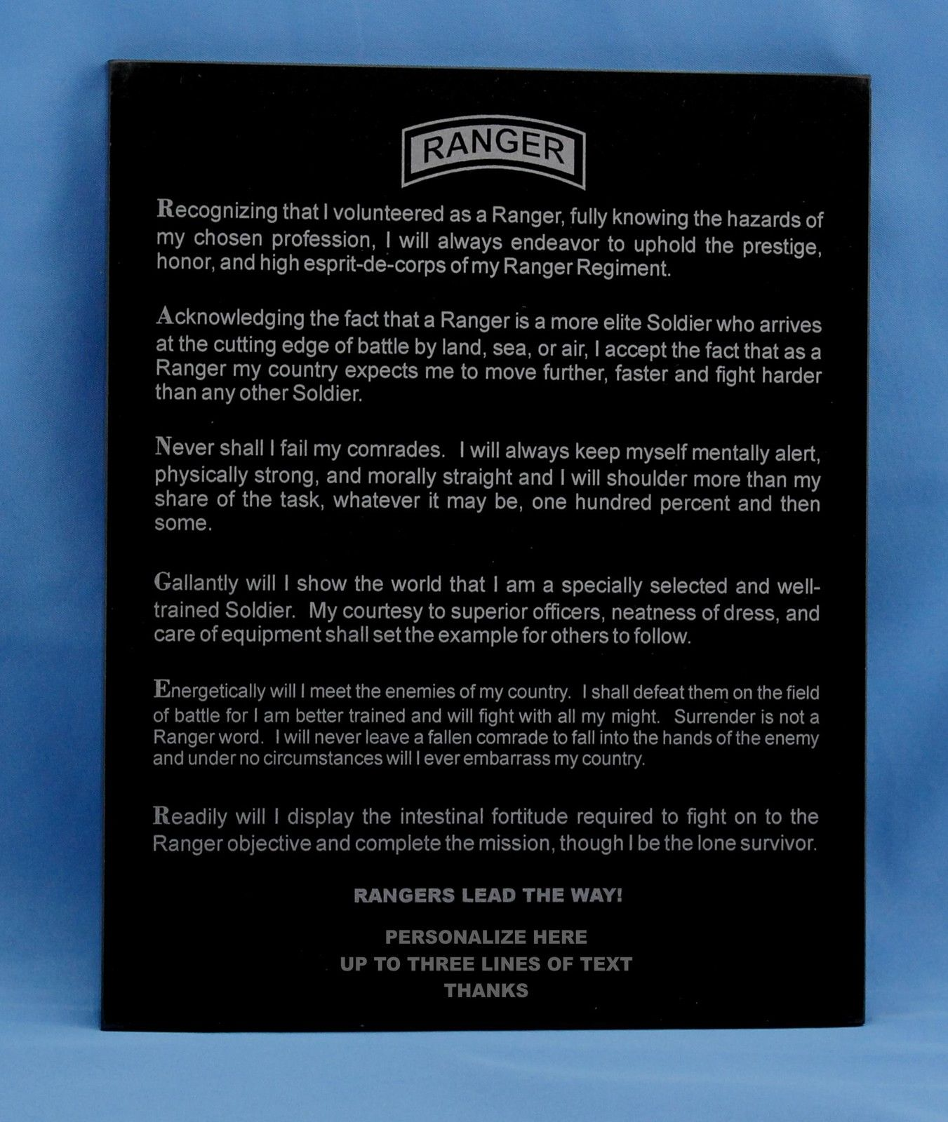 RANGER CREED, 75th RGT Granite plaque
