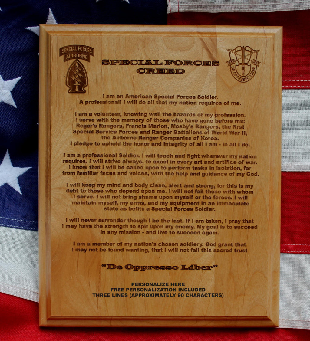 Special Forces Creed Plaque,