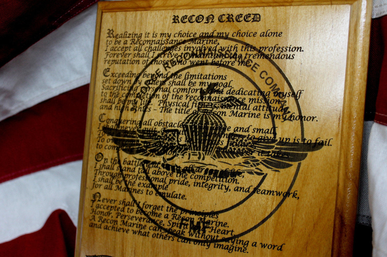 United States Marine Corps Force Reconnaissance, The Recon Creed Plaque, 3rd Reconnaissance Battalion, 3d Marine Division, EGA military gift