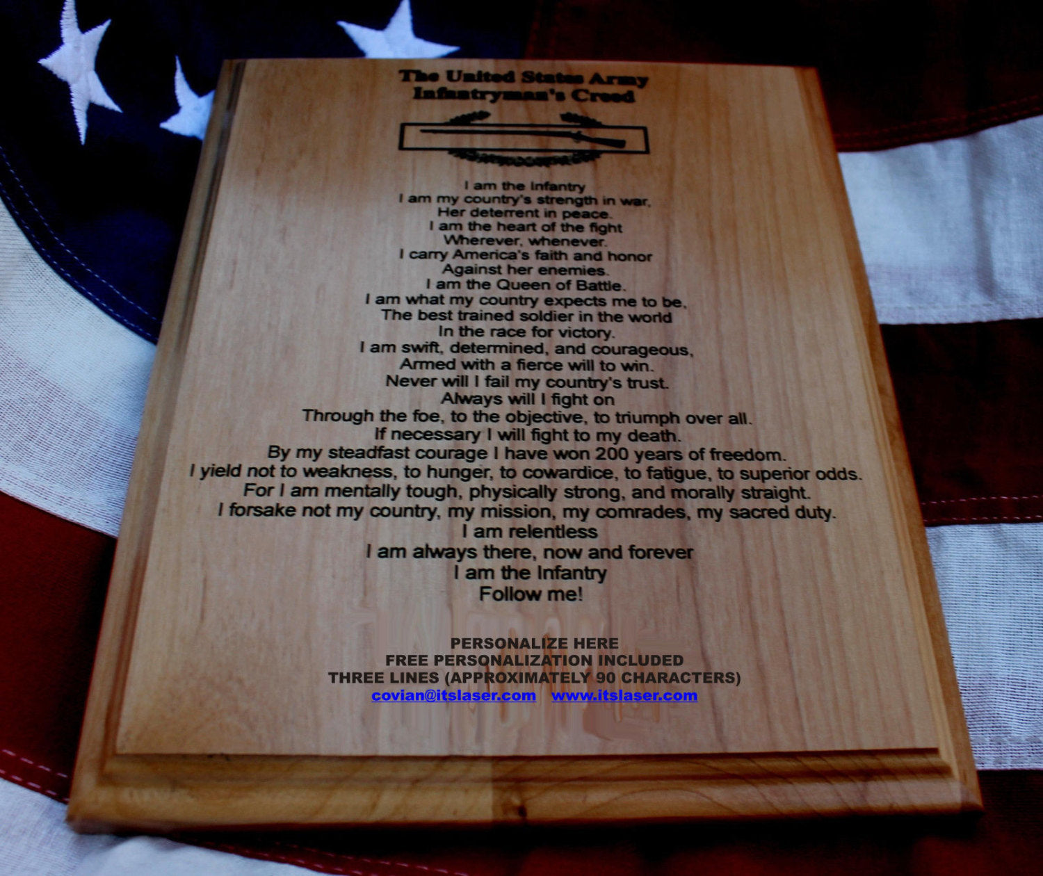 US Army Infantryman's Creed Plaque, Combat Infantryman Badge CIB,