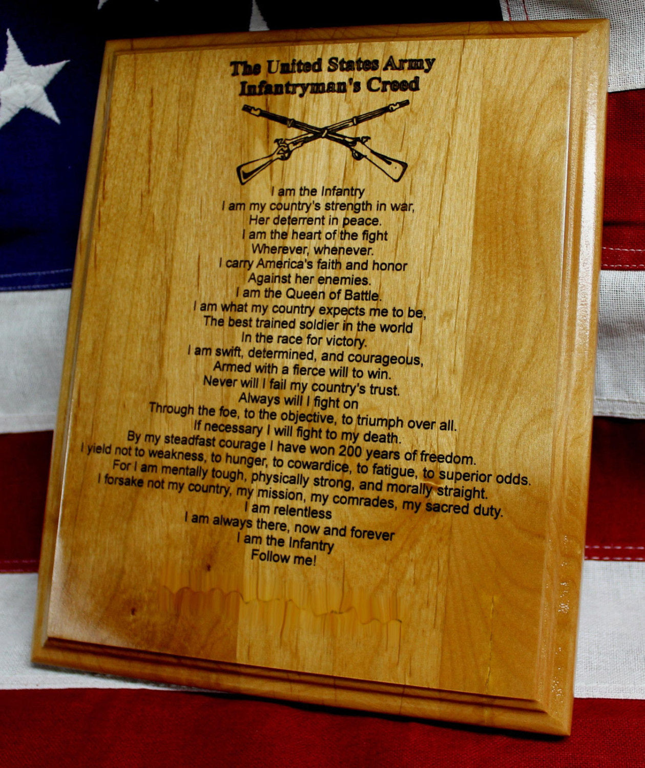 US ARMY Infantryman's Creed Plaque, infantry crossed rifles