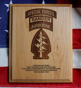 Special Forces Plaque, Airborne, Ranger Plaque, Tower of Power