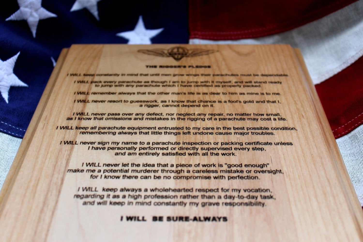 Rigger Pledge Plaque I Will Be Sure - Always,