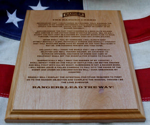 US Army Ranger Creed Plaque