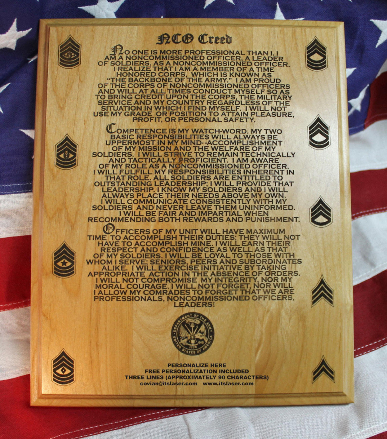 US Army NCO Creed Plaque