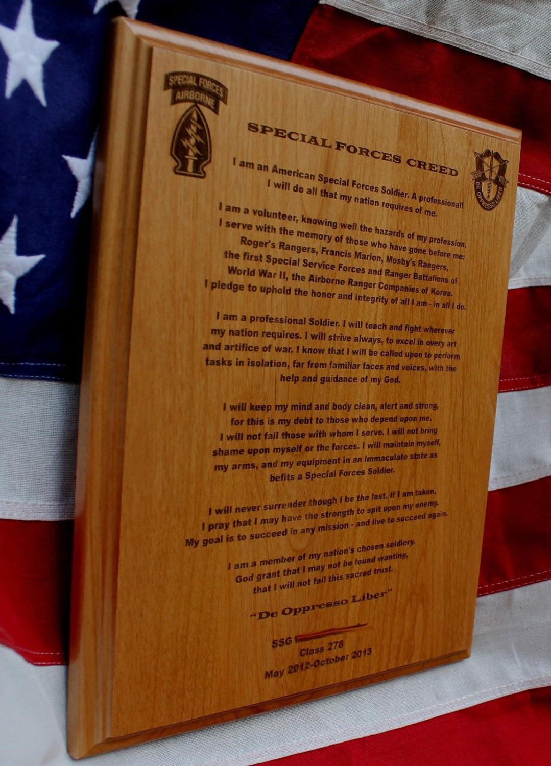 Special Forces Creed Plaque, solid wood