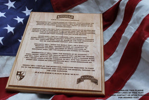 US Army Ranger Creed Plaque, 75th Ranger Regiment