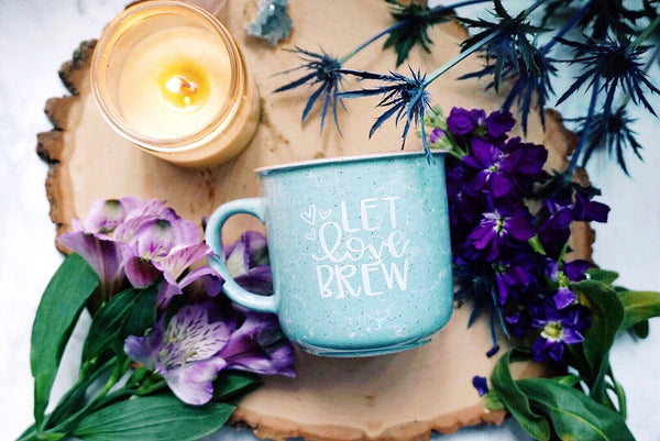 Let Love Brew / Marble Campfire Style Mug - A Little Tinsel
