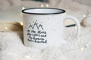 To The Stars Who Listen And The Dreams That Are Answered White Campfire Mug - A Little Tinsel