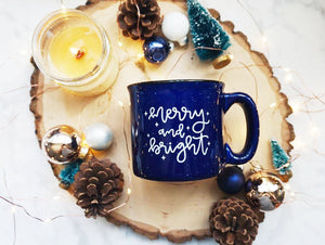 Merry and Bright / Deep Blue Campfire Mug - A Little Tinsel