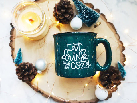 Eat Drink and Be Cozy / Green Campfire Mug | A Little Tinsel