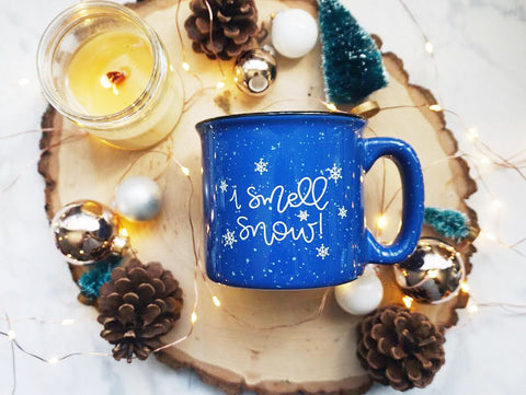 I Smell Snow / Blue Campfire Mug - A Little Tinsel