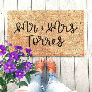 Custom Mr + Mrs Doormat