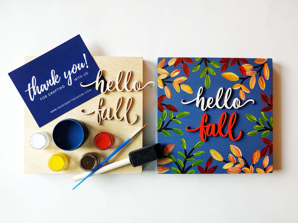 "DIY Party BOX | Fall 2020 Collection | ""hello fall"" Wood Sign for Groups of 5 or 10"