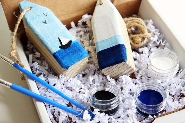 July 2020 DIY in a BOX Subscription Kit | Wooden Buoy Set of 2