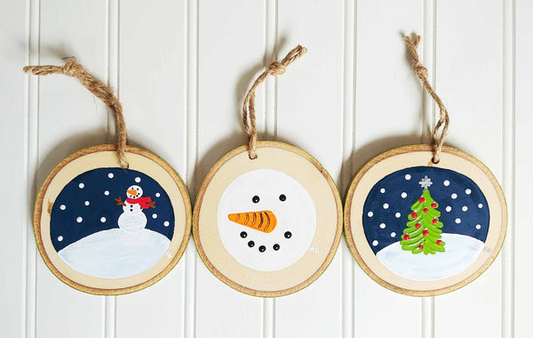 Snowy Ornament Trio Paint & Sip