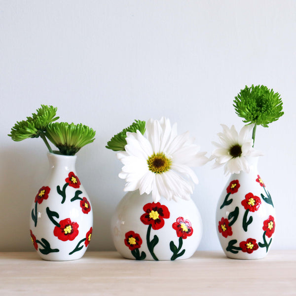 On-Demand Class | Set of 3 Poppy Bud Vases | Available 5/1-5/15