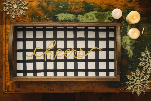 **PRE-SALE to ship on/by 11.13.20** DIY in a BOX | Farmhouse White Plaid Serving Tray