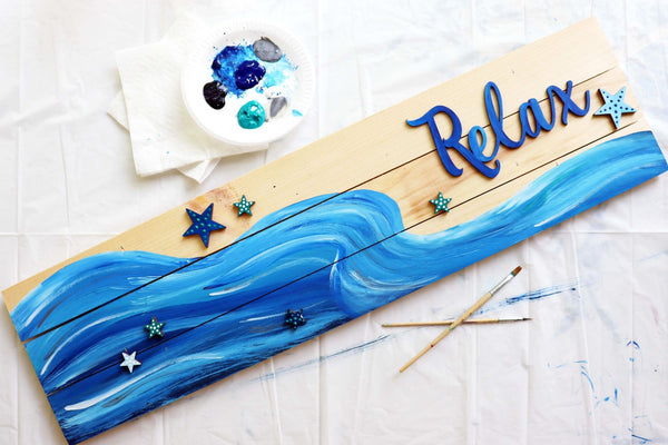 "*VIRTUAL* Art Workshop | ""Relax"" Beach Pallet Sign 