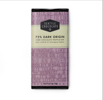 72% Dark Origin Dark Chocolate Truffle Bar