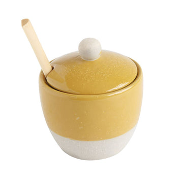 Gold Stoneware Glaze/Matte Jar w/ Wood Spoon