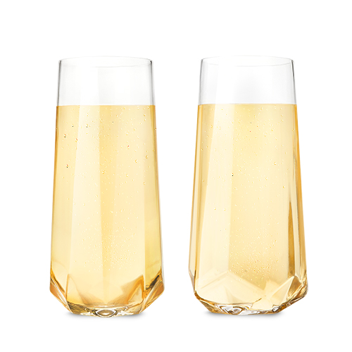 Raye™ Faceted Crystal Champagne Glasses