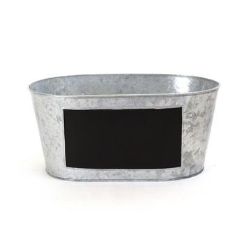 Silver Oval Metal Gift Basket