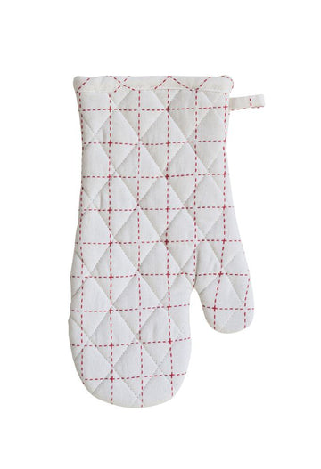 Red & White Oven Mitt