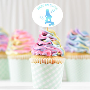 Load image into Gallery viewer, baby on board - skateboarding boy svg , printed in holographic, as a cupcake topper