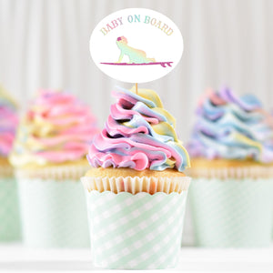 Load image into Gallery viewer, pastel swirl cupcakes with a Baby On Board - Surf Girl - SVG topper printed in holographic and glitter HTV