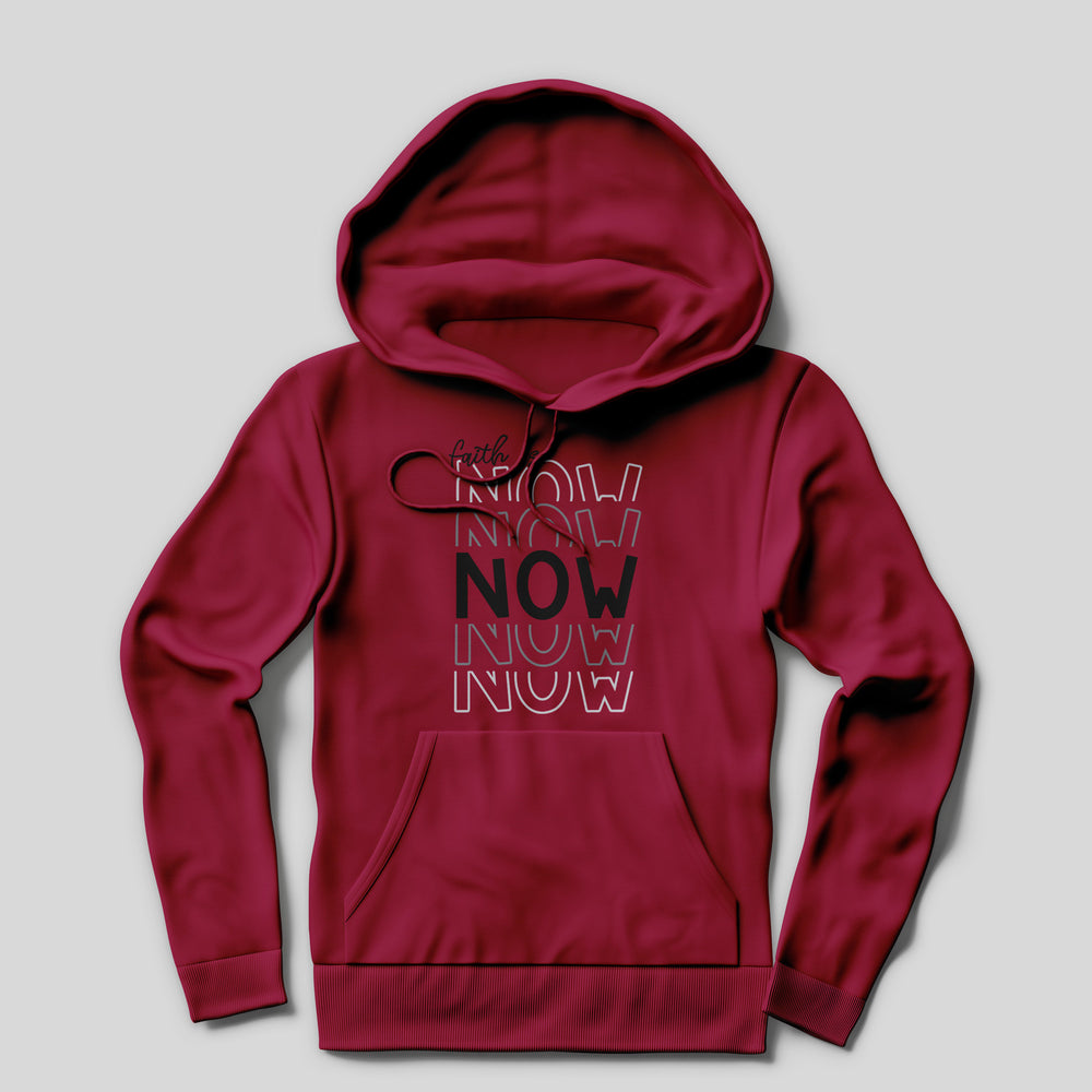 a red hoodie printed with the Faith Is Now - SVG