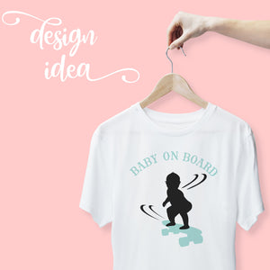 Load image into Gallery viewer, a hand holding a shirt on a hanger with baby on board - skateboarding boy svg printed on the shirt