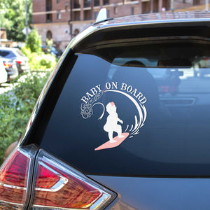 Baby On Board - Surfing Girl svg car decal on a SUV rear window