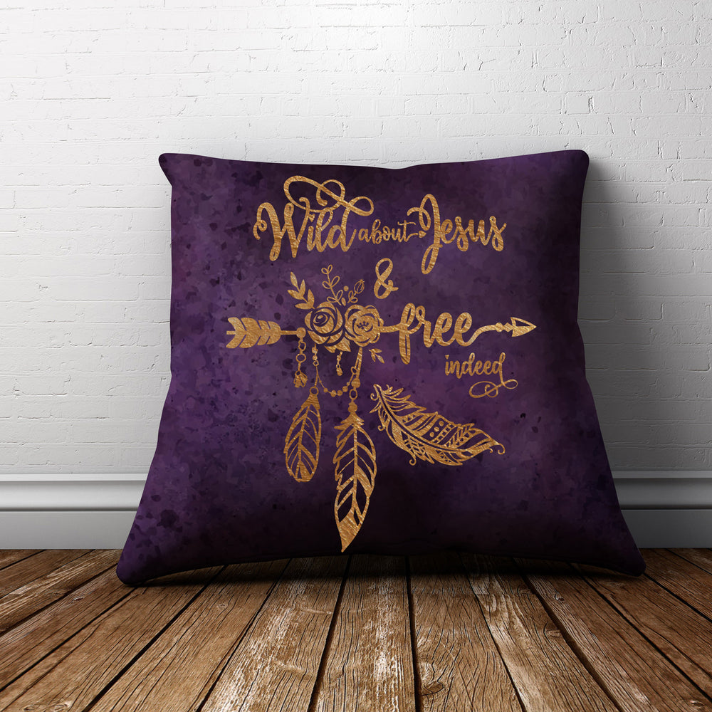 free indeed svg printed in gold onto a purple pillow