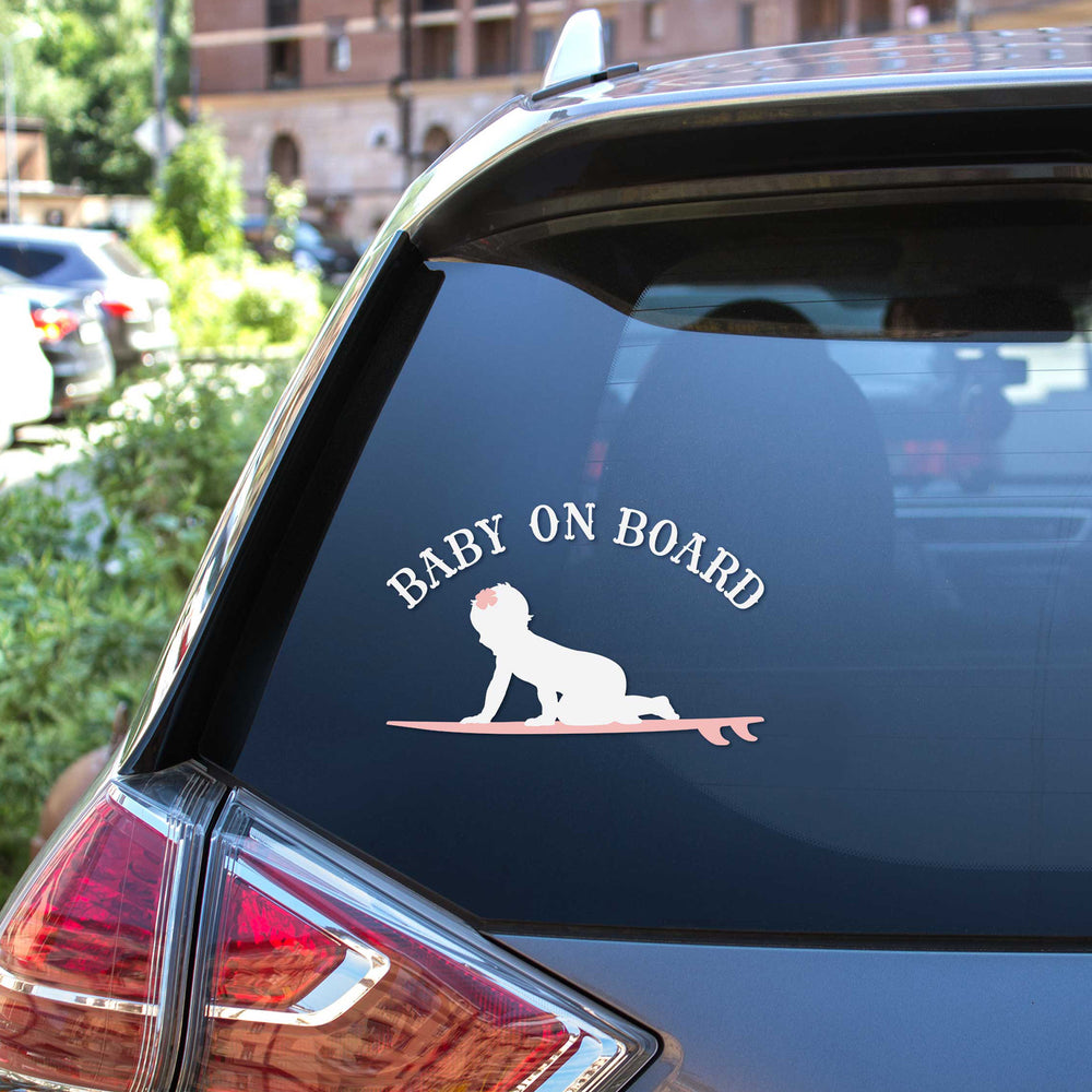 Baby On Board - Surf Girl - SVG car decal on the rear window of a SUV