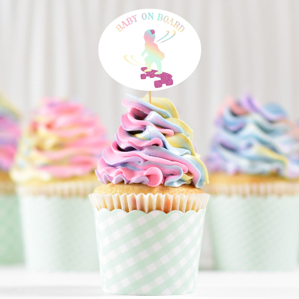pastel swirl cupcakes with a Baby On Board - Skateboarding Girl SVG topper, printed in holographic and glitter