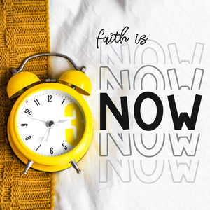 a yellow throw blanket and alarm clock layed out on a white comforter, with the Faith Is Now - SVG text