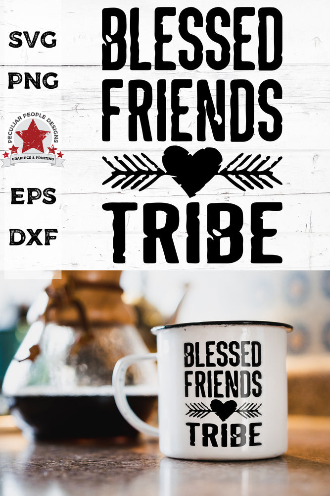 Blessed-Friends-Tribe-Distressed-SVG shown on a mug sitting on the kitchen counter next to a pot of coffee