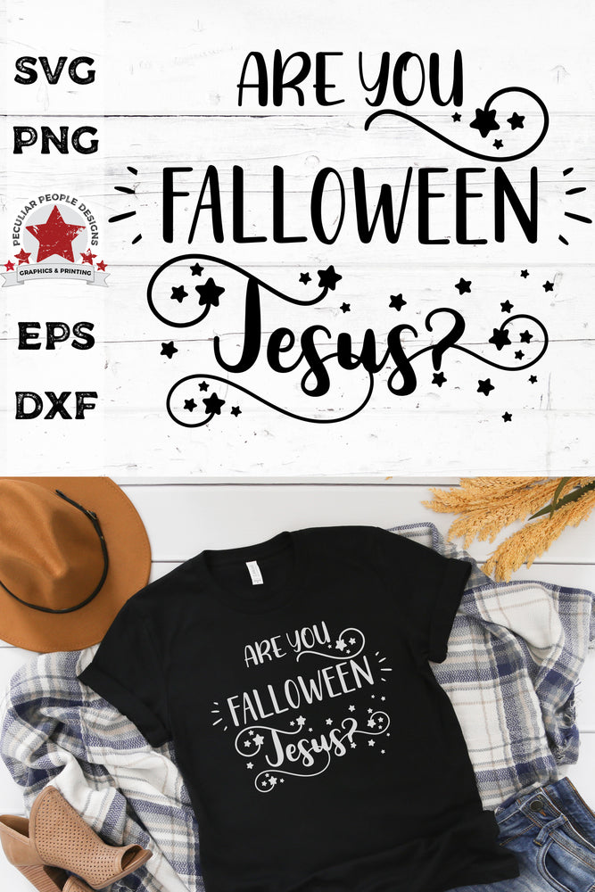 Are You FALLOWEEN Jesus svg printed on a black shirt layed out, surrounded by fall themed items