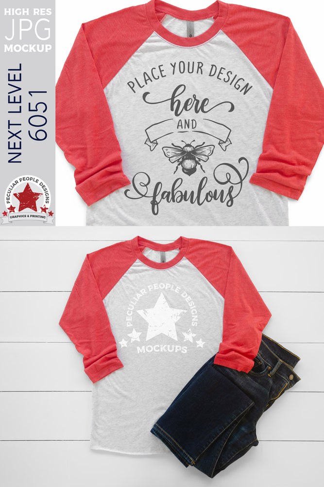 Load image into Gallery viewer, Mockup - Next Level 6051 Raglan - Vintage Red/Heather White MW2