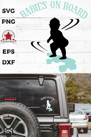 Load image into Gallery viewer, babies on board, skateboarding svg, cut as a car decal, shown on the rear window of a black jeep